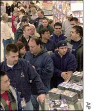 A long line of game buyers wait at a store in Burbank, Calif., to purchase the Nintendo GameCube on the first day it was available.