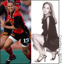 Professional soccer player Heather Mitts turned down her chance to pose in Playboy, but her looks helped land her on late night television.