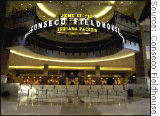 Conseco was the fifth stadium or arena sponsor to go bankrupt in 2002.