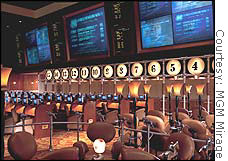 Sports books, like this one in the MGM Mirage, have among the thinnest profit margins in a casino.