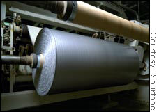 A 5-foot wide, 1,500 yard roll of duct tape on a factory floor in Stony Point, N.C., before it is cut down to normal consumer-size rolls.