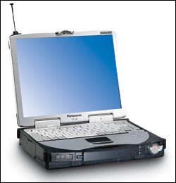 The battled-hardened Panasonic Toughbook 28 has a 13.1-inch screen, 800-MHz processor, 256MB of SDRAM expandable to 512MB, and 30GB HDD.