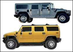 GM's HI and H2 models of the Hummer.