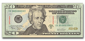 The Front of the new $20 bill.