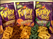 Heinz's Funky Fries, the chocolate, cinnamon, sour cream and blue-colored frozen fries, turned into a product blooper for the company. (Courtesy: Heinz)