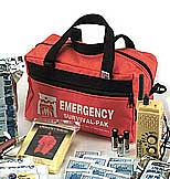 Safer America's Emergency 72 hrs. Survival Kit. Includes: emergency food ration, 12 purified water pouches, blanket, emergency poncho, survival whistle, flashlight, first-aid kit, pocket knife, AM/FM radio.