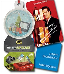 Festive 2003 gift cards from electronics retailer Best Buy and department store chain Bloomingdales.