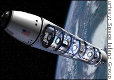 Space Island Group believes it can put privately financed space stations in orbit by 2008, using discarded fuel tanks.