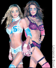 These two athletes may need a new sponsor for their Lingerie Bowl.