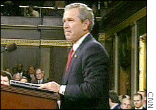 President Bush looks out over Congress during Monday's State of the Union address.