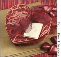 Organza heart-shaped box with milk chocolates from Pier 1 Imports: Price $8.