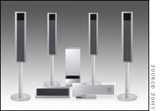 Sony's DREAM DVD home theater system, featuring speakers with removable stands.