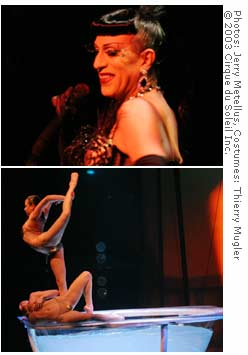 Joey Arias, in the top photo, is the drag queen emcee on Cirque du Soleil's