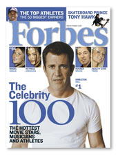 Mel Gibson tops Forbes magazine's 'Celebrity 100' list.