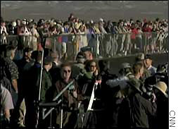 Crowds watching the launch of SpaceShipOne Monday in the Mojave Desert.