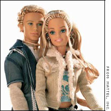 Blaine doll, left, is Barbie's new love.