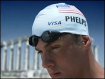 U.S. swimmer Michael Phelps, shown here in a Visa ad, is one of the Olympians who arrived in Athens already having won advertising gold.
