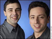 Larry Page, left, and Sergey Brin were named two of the richest Americans by Forbes magazine on Thursday.