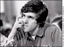 A still from the movie shows a young Kerry testifying before Congress