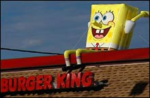 Burger King is offering one year's free supply of food in a bid to stop rash of SpongeBob thefts.