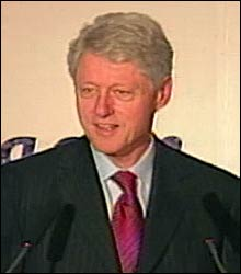 Bill Clinton, speaking at Accoona's launch party Monday night, performed the first search on Accoona at the event.