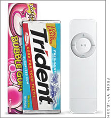 The iPod Shuffle, above, is smaller than most packs of gum, weighing less than an ounce.