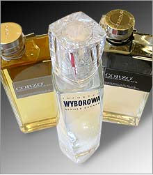 Designer bottles: Wyborowa's Frank Gehry design flanked by Corzo's Fabien Baron.