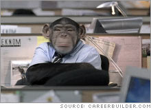 Chimpanzees are the theme of a new CareerBuilder.com ad campaign that includes 2 Super Bowl ads.