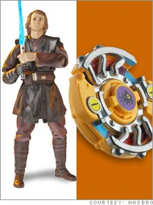 The Anakin Skywalker action figure (left, available in April: $5.99) from the
