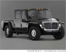 The MXT concept truck, due out in late 2005, would be the smallest of three monster pickups from International.
