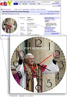 One of the items up for auction on Ebay, only hours after the new pope was elected.