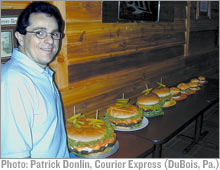 Denny Liegey and his big burger lineup