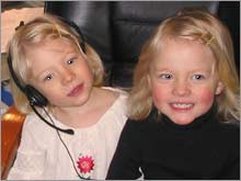 The writer's daughters, Fiona and Isabel, in Mommy's office.