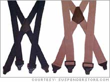 The BuzzNot airport-friendly suspenders with plastic clasps come in three colors, navy, green and tan, and are priced at $19.95 each.