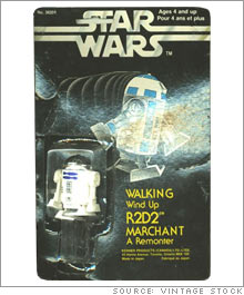 A wind-up R2D2 toy that was available only in Canada is valued at $2,400 in its original packaging.