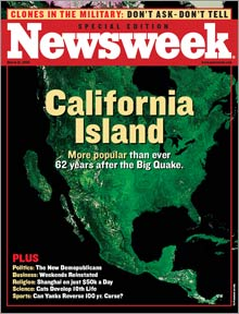 A fake magazine cover used to promote the industry. The date is March 2095. The subject: the island of California, 62 years after an earthquake.