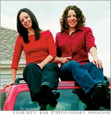 Katie (left) and Emily: They've begun paying rent to their parents.