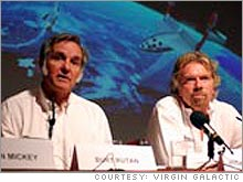 Burt Rutan, left, the designer of the first privately-financed manned spaceship, and Richard Branson, who has licensed Rutan's design and plans to offer space trips to tourists in 2008.