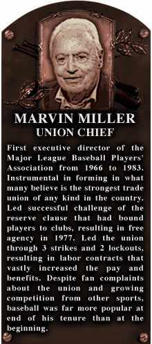 How a Marvin Miller HOF plaque might look