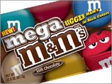 The new Mega M&M's are about 55 percent larger than the originals.