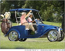 Ex-Chrysler chairman Lee Iacocca and rapper Snoop Dogg ride a modified golf cart in a new Chrysler ad.