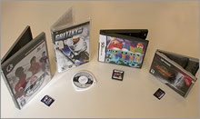 Note the size of the Gizmondo game cartridge and its retail packaging (along with competitors)