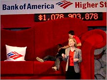 Bank of America planted a giant couch in New York's Grand Central Station to symbolize how loose change can add up to savings.