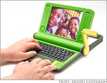 The laptop, powered with a crank, is intended for students.