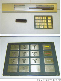 Fake keypads and card slots used by thieves to take banking information and steal money from victims' bank accounts.