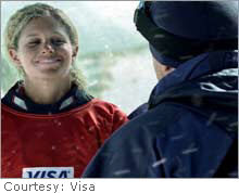 Snowboarder Lindsey Jacobellis, shown here in a pre-Olympic ad for Visa, came in for criticism for the way she lost a gold medal.