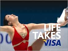 Visa stuck with their Michelle Kwan ads, even after she dropped out of the Olympics due to injury.