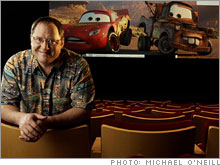 John Lasseter in Pixar's screening room.