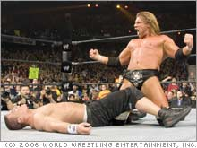 WWE Superstars John Cena and Triple H at WrestleMania 22.