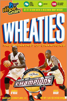 Wade made it to the box of Wheaties with teammate Shaquille O'Neal after leading the Miami Heat to the NBA championship this week.
